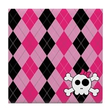 Cute Skully Argyle Tile Coaster