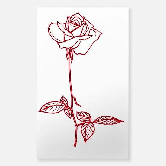 Long Stem Rose Sticker (Rectangle)