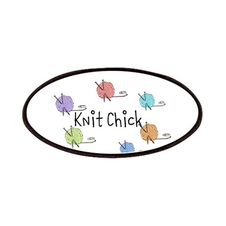 Knit Chick w/yarn around Patches