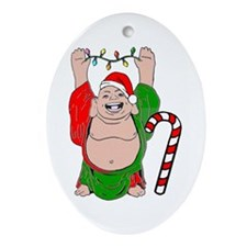Christmas Buddha Claus Ornament (Oval)