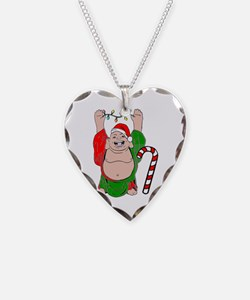 Christmas Buddha Claus Necklace Heart Charm