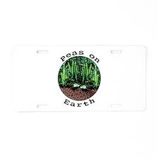 Peas On Earth Aluminum License Plate