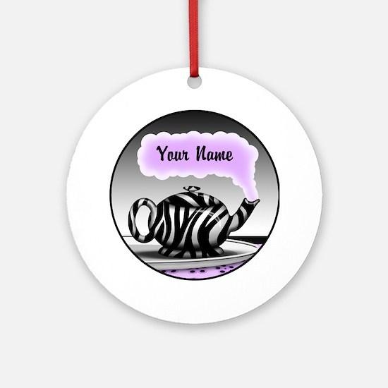 Zebra Print Teapot Purple Steam Ornament (Round)