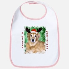 Golden Christmas with Antlers Bib