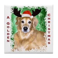 Golden Christmas with Antlers Tile Coaster