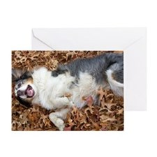 Annie Enjoys the Leaves Greeting Card