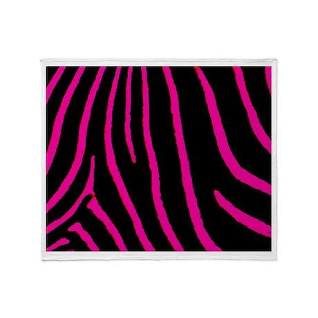 Hot Pink Zebra Throw Blanket