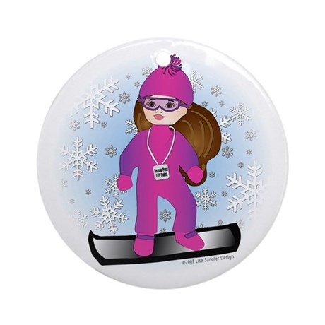 Snowboarding Girl (BR) Ornament (Round)