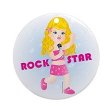 Rock Star Girl (BL) Ornament (Round)