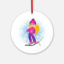 Ski Girl (blonde) Ornament (Round)