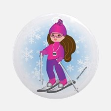 Ski Girl (brunette) Ornament (Round)