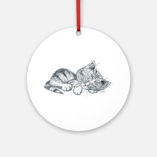Sleeping Kitten Ornament (Round)