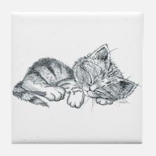Sleeping Kitten Tile Coaster