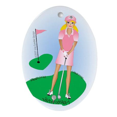 Lady Golfer Blonde Oval Ornament