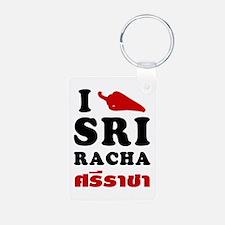 I Love Sriracha Keychains