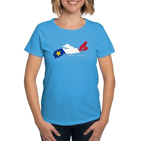 Acadian Flag Nova Scotia Women's Dark T-Shirt