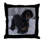 Puppy in a Snowstorm Throw Pillow