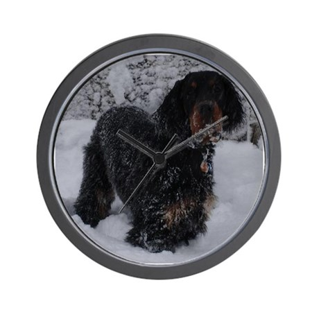 Puppy in a Snowstorm Wall Clock