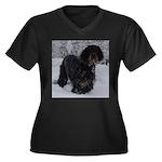 Puppy in a Snowstorm Women's Plus Size V-Neck Dark