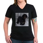 Puppy in a Snowstorm Women's V-Neck Dark T-Shirt