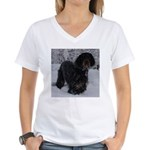 Puppy in a Snowstorm Women's V-Neck T-Shirt