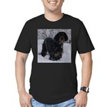 Puppy in a Snowstorm Men's Fitted T-Shirt (dark)