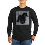 Puppy in a Snowstorm Long Sleeve Dark T-Shirt