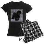 Puppy in a Snowstorm Women's Dark Pajamas