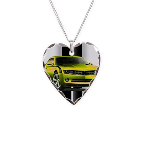 New Camaro Yellow Necklace Heart Charm