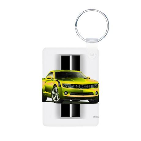 New Camaro Yellow Aluminum Photo Keychain
