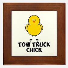Tow Truck Chick Framed Tile