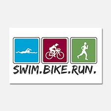 Swim Bike Run Car Magnet 20 x 12
