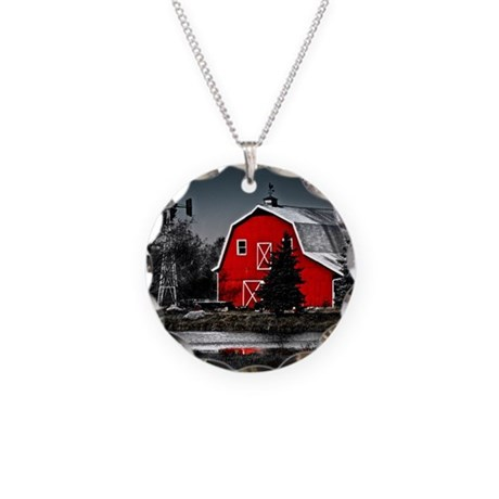 Spectacular Red Barn Necklace Circle Charm