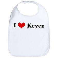 I Love Keven Bib