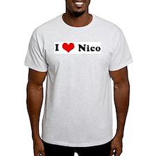 I Love Nico Ash Grey T-Shirt