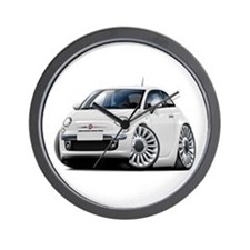 Fiat 500 White Car Wall Clock