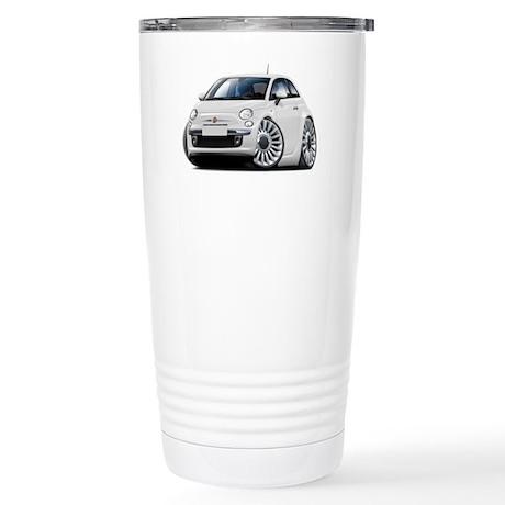 Fiat 500 White Car Stainless Steel Travel Mug