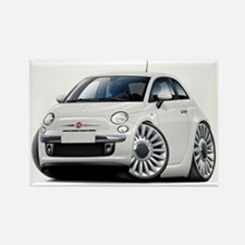 Fiat 500 White Car Rectangle Magnet