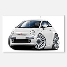 Fiat 500 White Car Sticker (Rectangle)