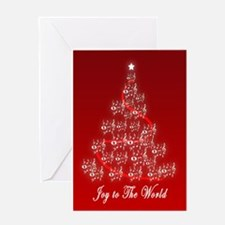 Joy to the World Music Notes tree Greeting Card