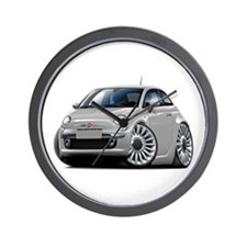 Fiat 500 Silver Car Wall Clock