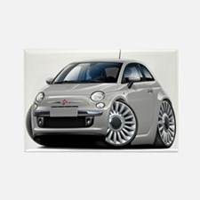 Fiat 500 Silver Car Rectangle Magnet