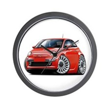 Fiat 500 Red Car Wall Clock