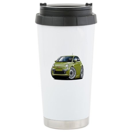 Fiat 500 Olive Car Stainless Steel Travel Mug