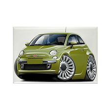 Fiat 500 Olive Car Rectangle Magnet
