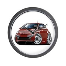 Fiat 500 Maroon Car Wall Clock