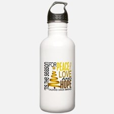 Christmas 1 Childhood Cancer Water Bottle