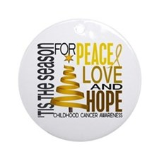 Christmas 1 Childhood Cancer Ornament (Round)