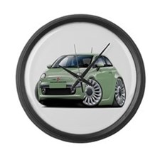 Fiat 500 Lt. Green Car Large Wall Clock