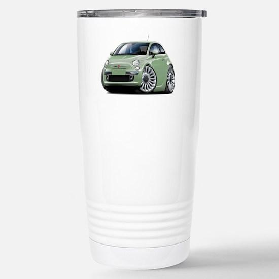 Fiat 500 Lt. Green Car Stainless Steel Travel Mug